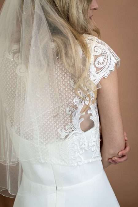 Abigail - two tier elbow length wedding veil with scattered crystas and pearls closeup