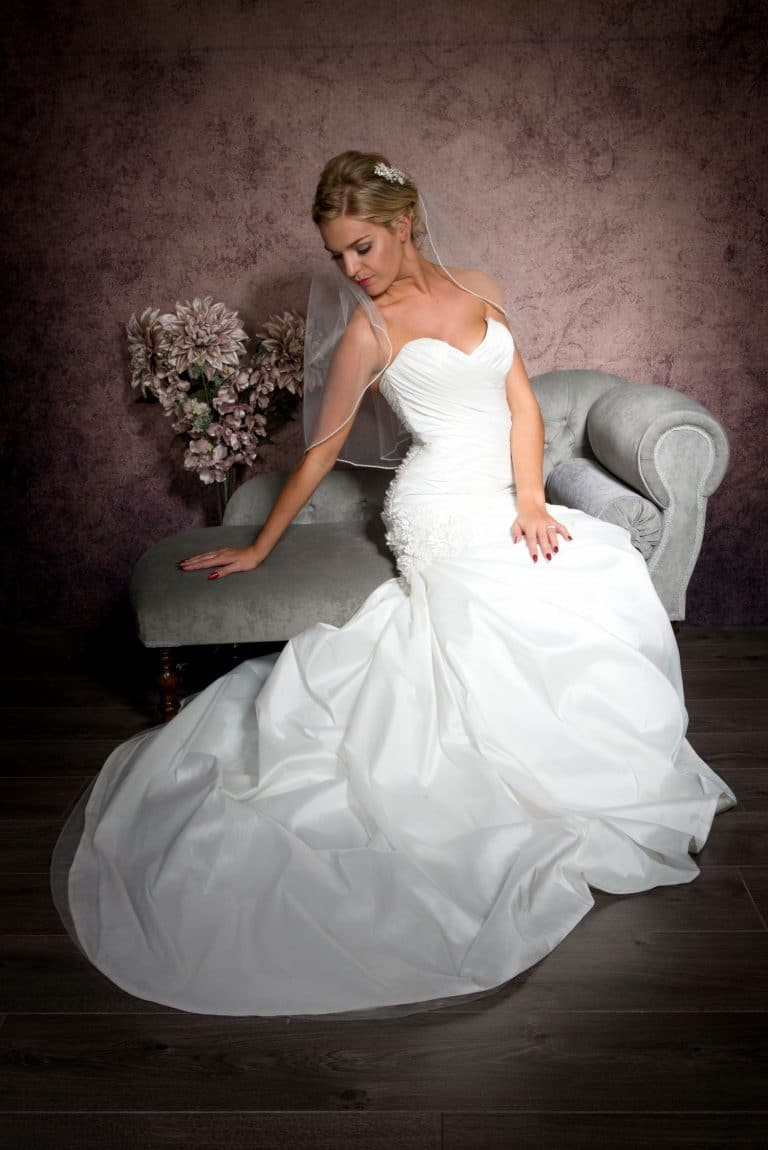 Elbow length veil with pearl edge