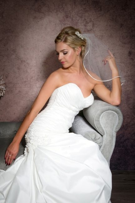 shoulder length veil with ribbon trim closeup