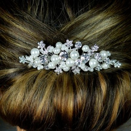 TLH3045 – diamante & pearl bridal hair comb