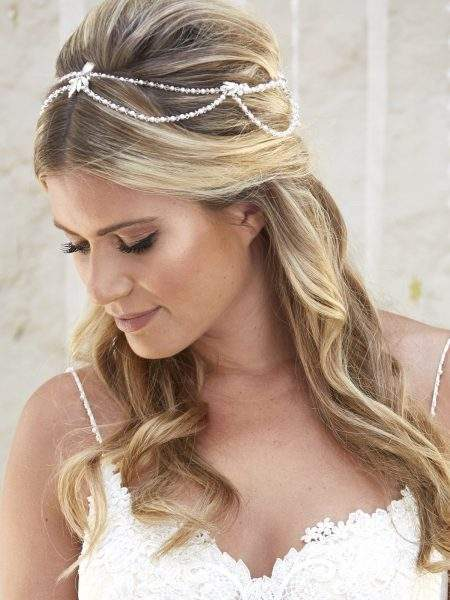 SALE! AR576 – draped halo with crystals, diamantes & pearls