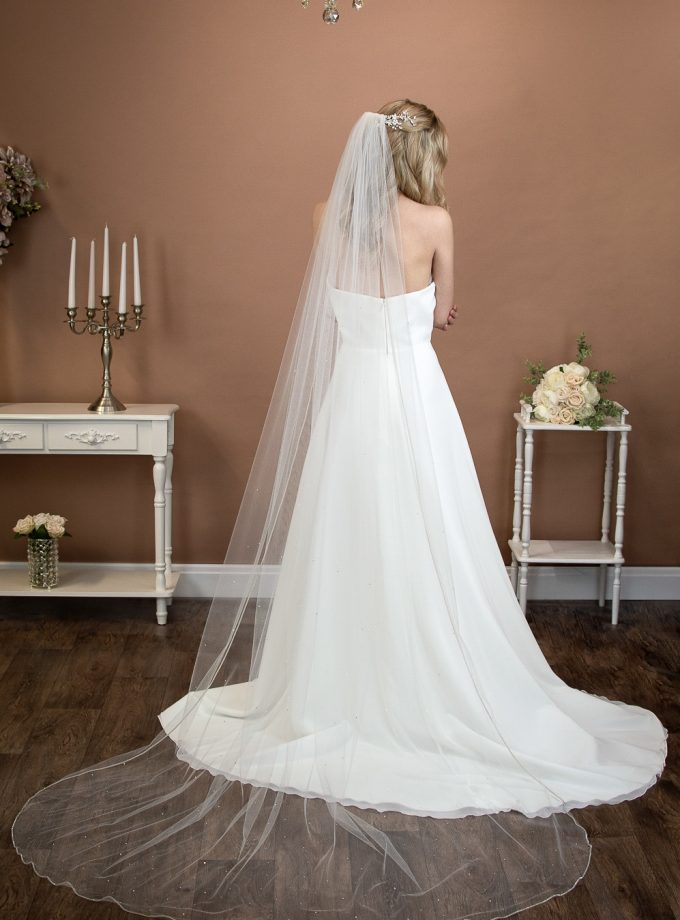 Alexandra - one layer long chapel veil with rhinestone edge and diamantes falling stars on bride