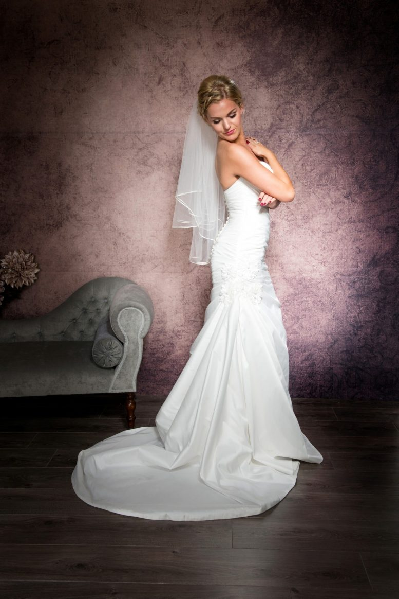 two tier waist length veil