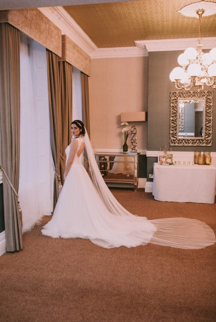 Aria- single tier cathedral length veil with a pencil edge in Silk Effect tulle