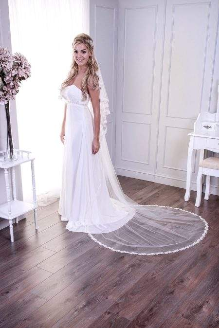 Atlanta – two layer chapel length veil with a narrow lace edge