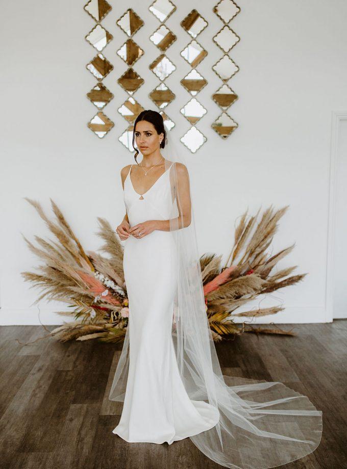 Brooke one layer chapel length wedding veil