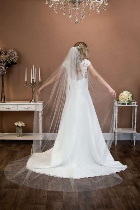 Brooke - single layer long chapel length extra wide plain veil on bride
