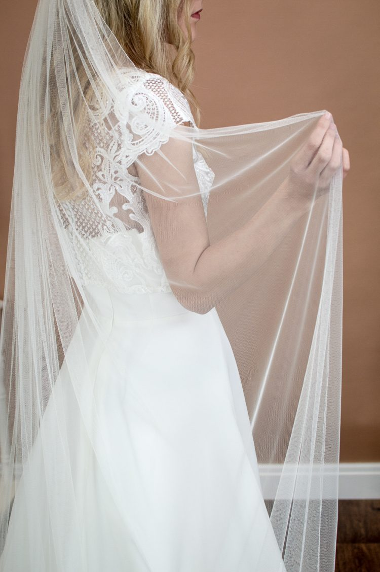 Brooklyn - slim and narrow single layer chapel length veil in silk effect tulle back closeup