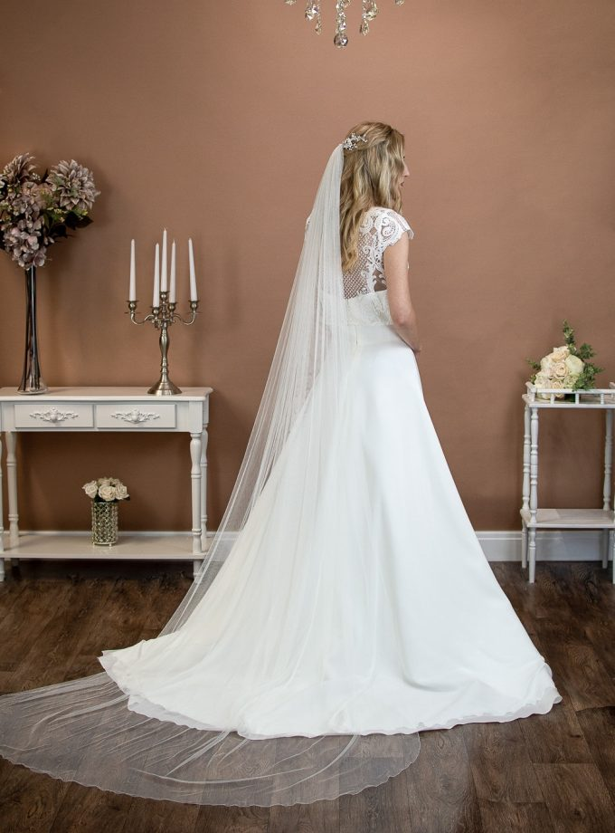 Brooklyn - slim and narrow width veil long single layer chapel length veil in silk effect tulle on a bride