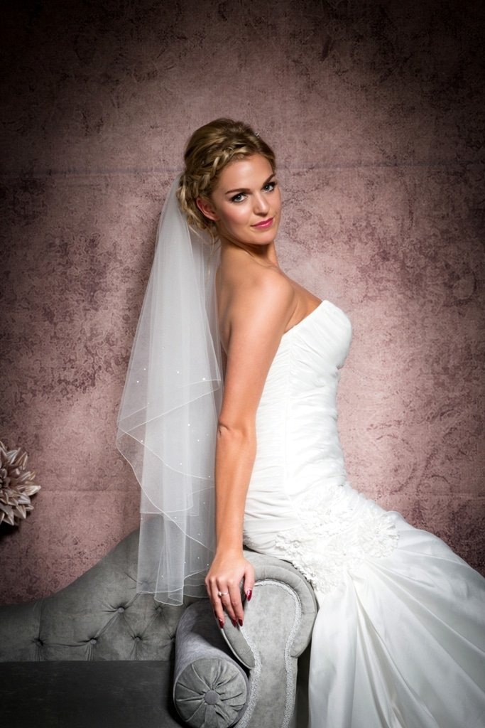 two layer hip length veil