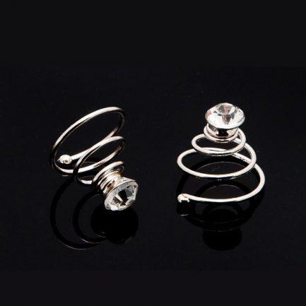 HT175 – single diamante bridal hair twisties – pack of six
