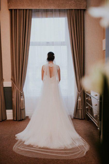 Diana – elegant hand cut drape veil in Silk Effect tulle