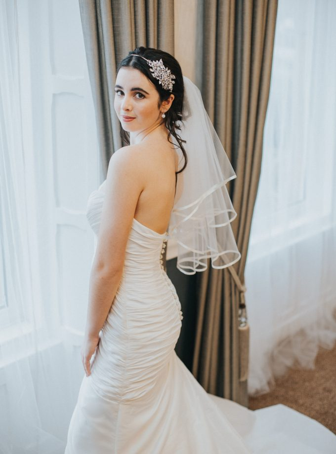 Dionne – Two tier elbow length ribbon edge veil