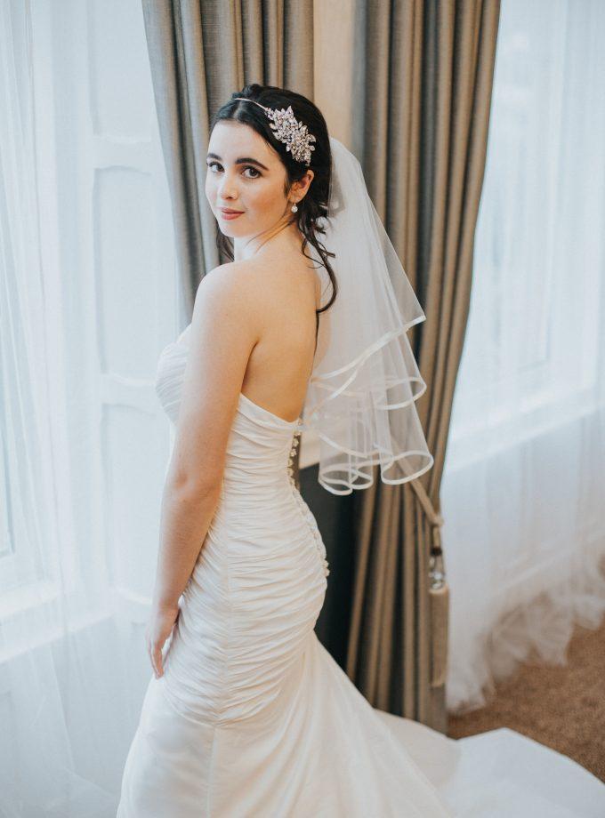 Dionne – Two tier elbow length ribbon edge veil