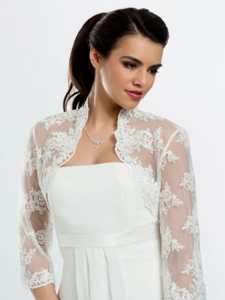 SALE! BB106 – beautiful 3/4 length sleeve lace and tulle bridal bolero – Sz 8, 16, 18, 24