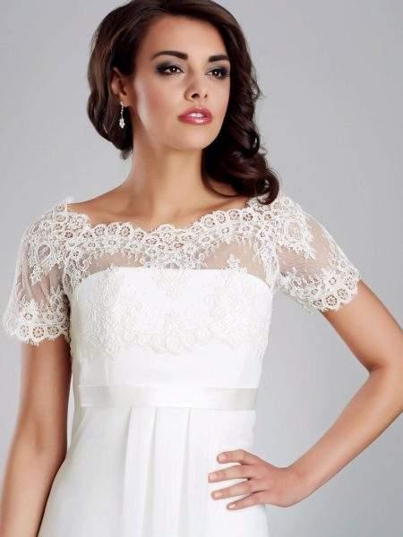 BB148 – elegant short sleeved bolero made from delicate French eyelash lace