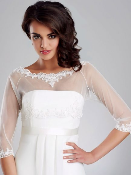 BB150 – stretchy tulle bridal coverup with lace detailing & button up back