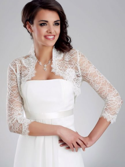 BB151 – ultra soft all over French lace bolero with 3/4 sleeves