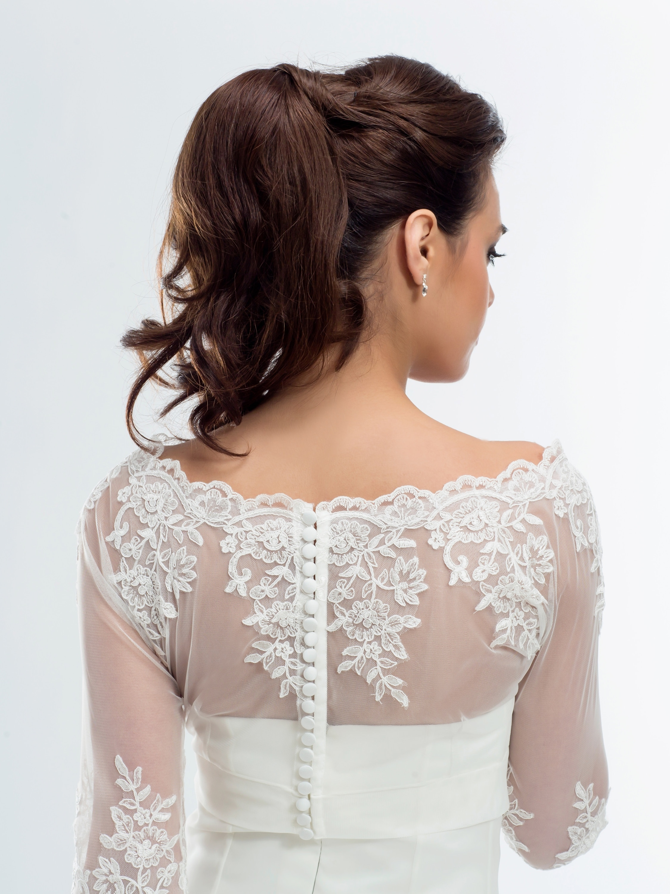 E176 BB1176 boat neck lace bridal jacket button up back with sleeves back