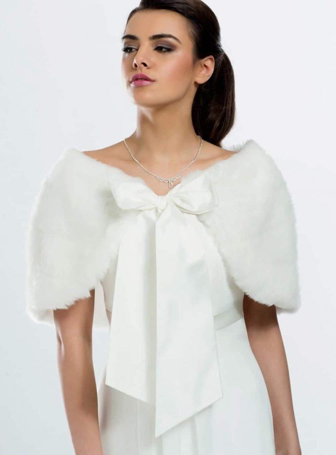 E22 BB22 faux fur bridal shoulder cape shrug wrap with a satin bow