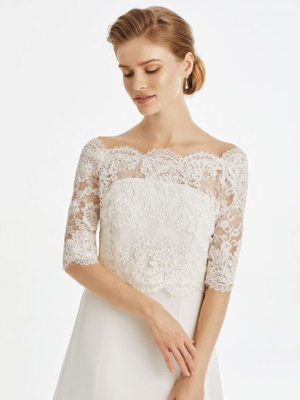 BB237 – elegant French lace bridal jacket with button up back