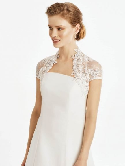 9d3f40528264 BB245 – cap sleeved bridal bolero with guipure lace