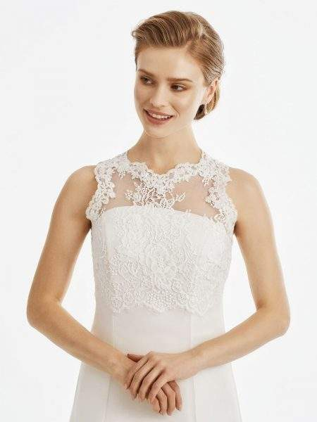 BB247 French lace & tulle bridal cover-up with beading