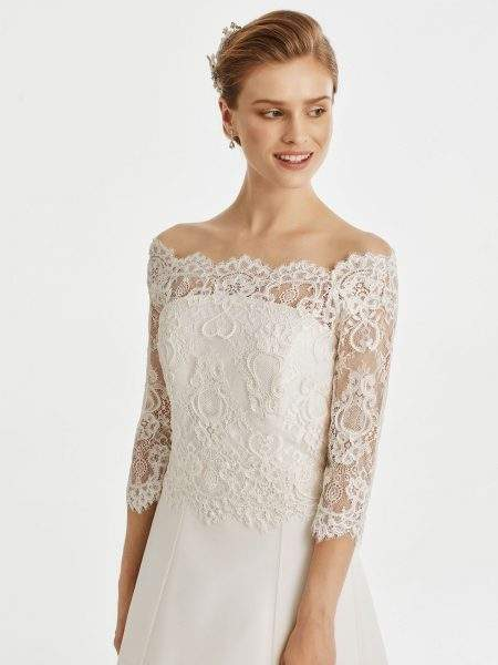 BB255 – full lace wide neck bridal jacket with button up back