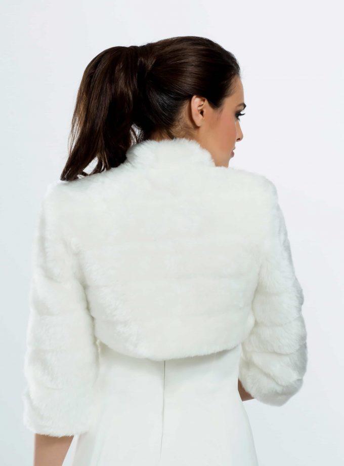BB42 faux fur bridal jacket back view