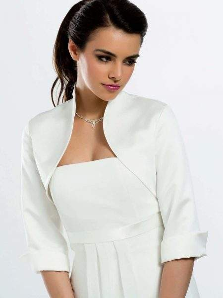 BB55S – stylish matte satin bridal jacket with 3/4 length sleeves
