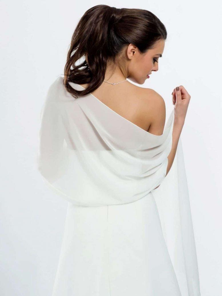 BB9 ivory chiffon shawl scarf