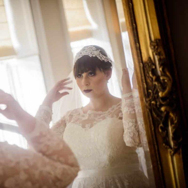uliet veil on real bride Elizabeth