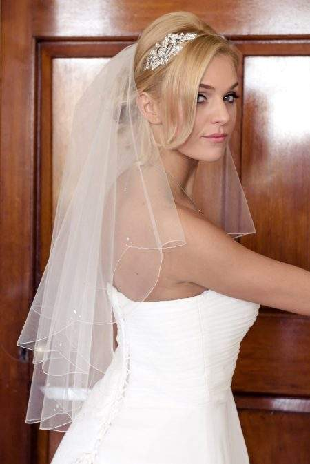 Elle – two layer waist length veil with petal shaped diamantes