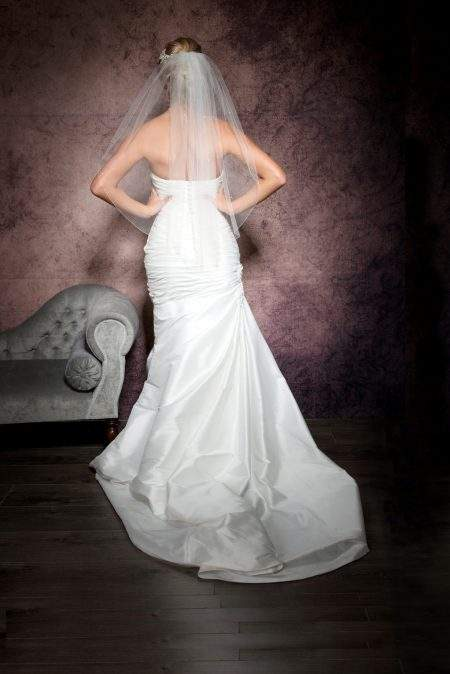 Emily – one tier waist length veil with Ab crystals