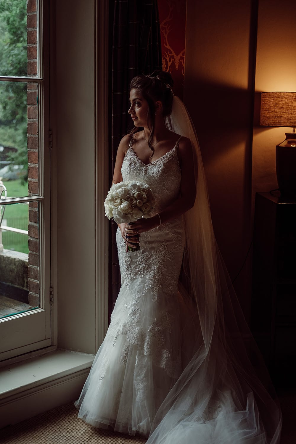 "Bride wearing""Isabella"" wired edge veil"
