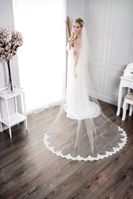 Felicity – two layer chapel length veil with a scalloped lace bottom