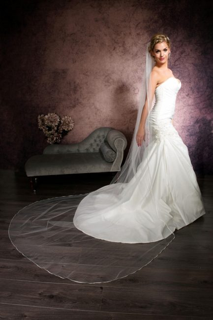 Francesca – single layer cathedral length veil with narrow ribbon edging