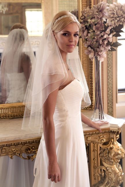 Frankie – two layer waist length veil with scattered diamantes