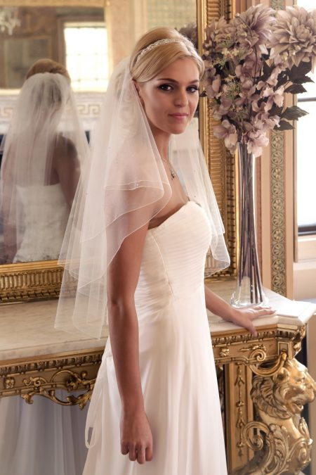 SALE! Frankie – Two layer waist length veil with scattered diamantes – Limited Colours Available