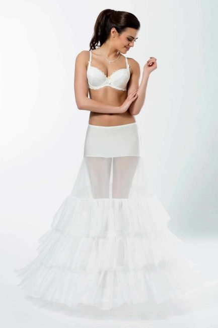 BP5-320 – Elasticated 320cm (126inch) A-line bridal underskirt with two hoops