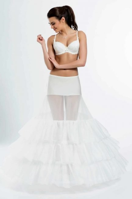 BP5-370 – Elasticated 370cm (146inch) A-line bridal underskirt with two hoops
