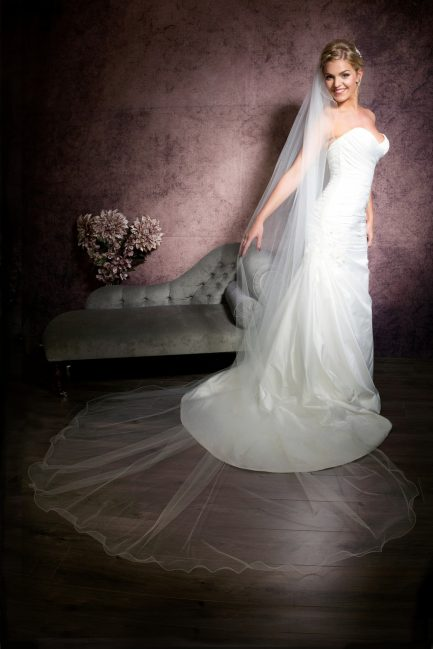 Isabella – single layer cathedral length veil with a wired wavy edge