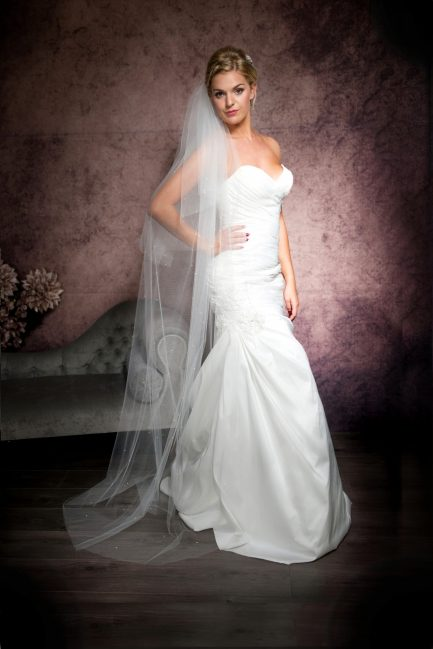 Isla – two layer floor length veil with a cut edge & scattered pearls