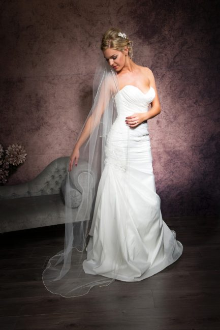 Jolene – two layer floor length veil with a pearl edge trim