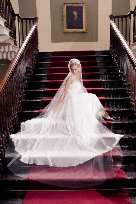 Juliet – single layer chapel length Juliet cap veil with lace
