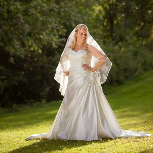 Brittany veil on real bride Kathleen