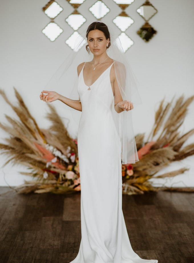 Kayleigh - two tier fingertip length veil with diamantes
