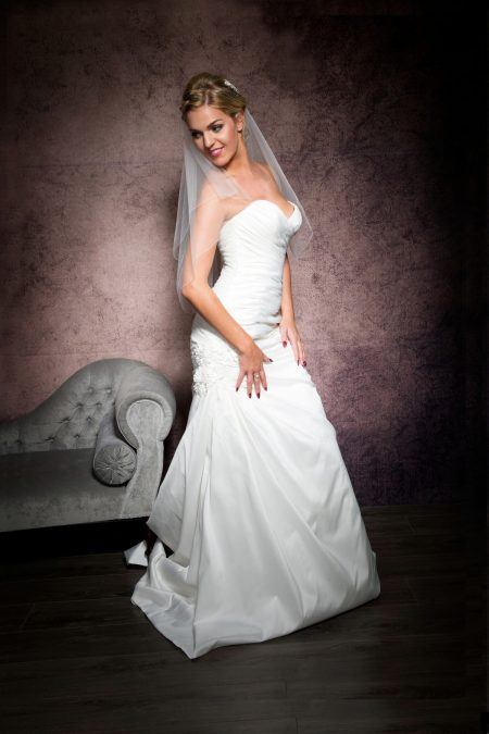 Kylie – two layer waist length veil with a pencil edge