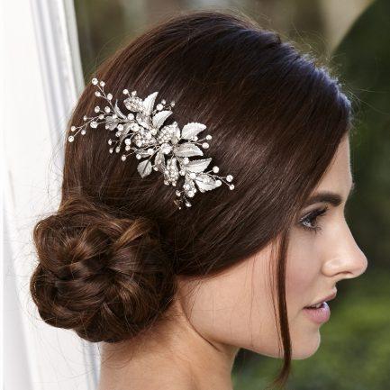 LP714 – classic leaf & diamante bridal hair clip