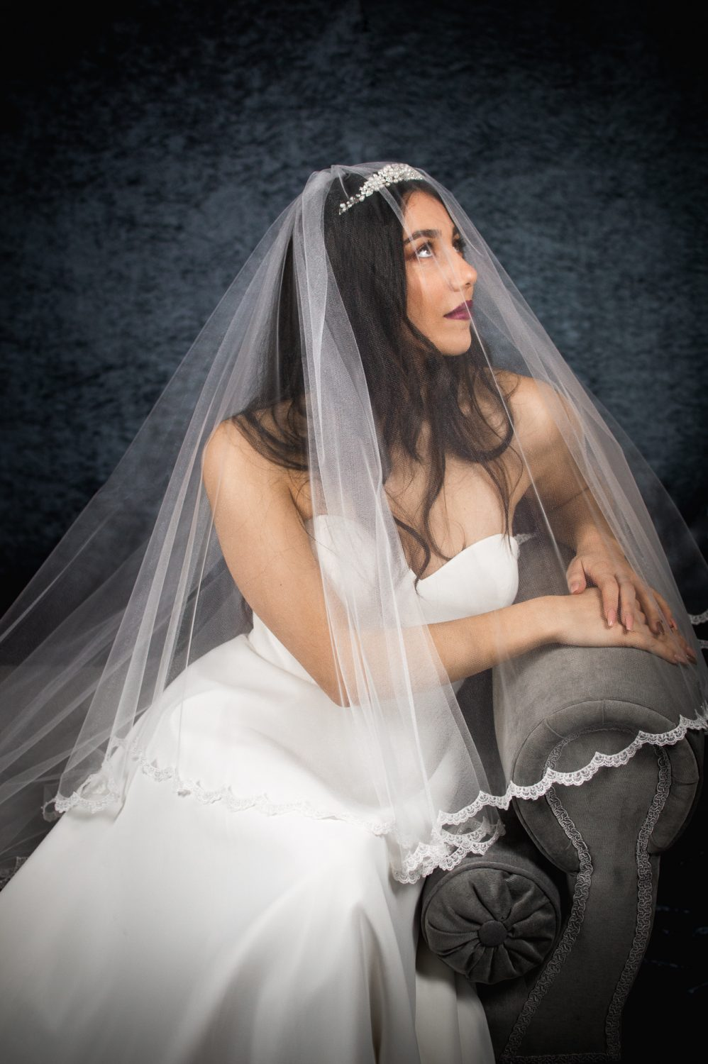 Lacey – two layer chapel length veil with a narrow lace edge (4)